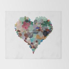 Love - Original Sea Glass Heart Throw Blanket