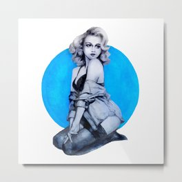 Blue Dot Girl Metal Print