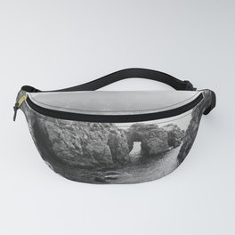 Ocean Arches   Black and White Nature Landscape Photography in California Fanny Pack
