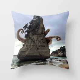 Cthulhu of Cathedral Cove Throw Pillow