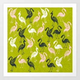 Cute Crane Pattern Art Print