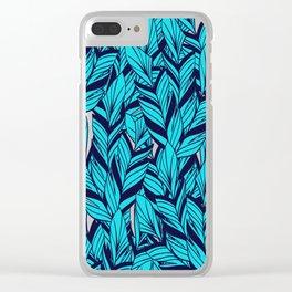 Blue Banana Leaf Pattern Clear iPhone Case
