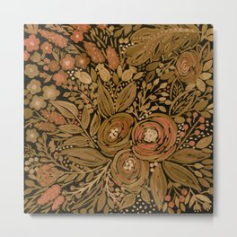 Watercolor .   Black brown floral pattern . Metal Print