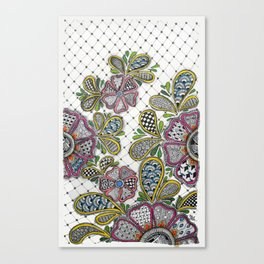 Patterned Flowers on a Grid Canvas Print