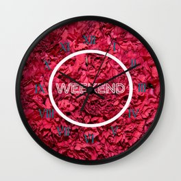 clock week end flower Wall Clock
