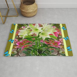BUTTERFLIES PURPLE & WHITE LILIES AVOCADO FLORAL Rug