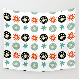 Abstract green black red hand painted stars polka dots Wall Tapestry
