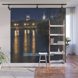 Berlin Night Skyline on the River Spree Wall Mural
