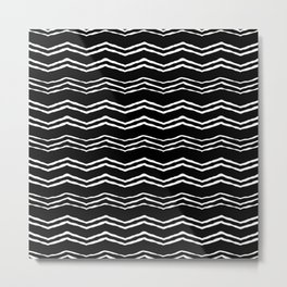 Black and white triangle waves Metal Print