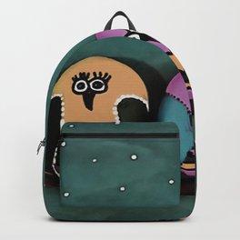 Bespoke Pebble Owls Against Night Sky Backpack