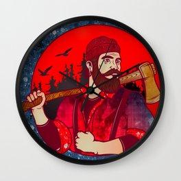 Hipster Lumberjack Red Wall Clock