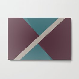 Purple Pink-Purple Aqua Diagonal Stripe Pattern 2021 Color of the Year Epoch and Accent Shades Metal Print