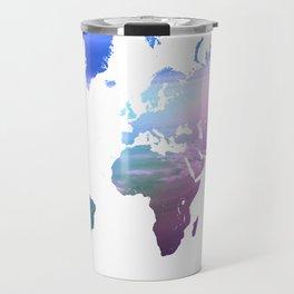 Rainbow World Map. Blue Purple Travel Mug