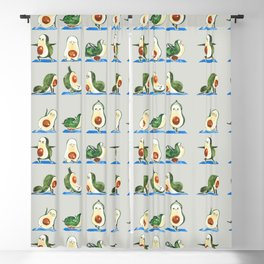 Avocado Yoga Watercolor Blackout Curtain