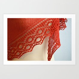 Red knitting with circle lace detail Art Print