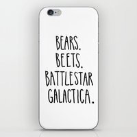 battlestar iPhone & iPod Skins featuring The Office Quote // Bears. Beets. Battlestar Galactica. by Hannah Phillips Media