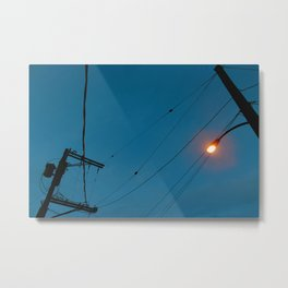 Night power lines Metal Print