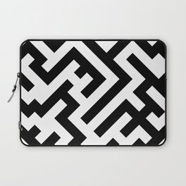 Black and White Diagonal Labyrinth Laptop Sleeve