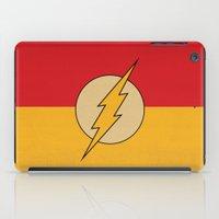 dc comics iPad Cases featuring Flash Logo Minimalist Art Print DC Comics by The Retro Inc