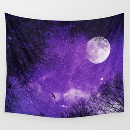 Nightsky with Full Moon in Ultra Violet Wall Tapestry