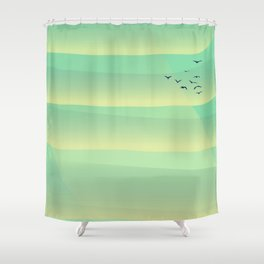 Birds in the evening sunset Shower Curtain