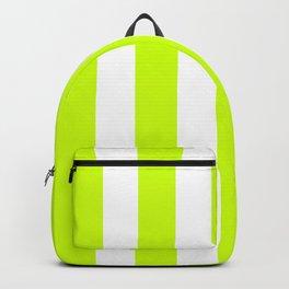 Volt green - solid color - white vertical lines pattern Backpack