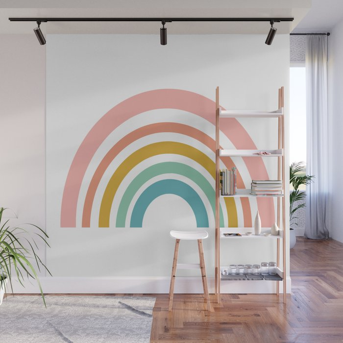 Simple Happy Rainbow Art Wall Mural