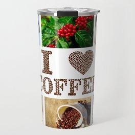 I Love Coffee Collage - Cafe or Kitchen Decor Travel Mug