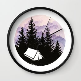 Tiny tent under evening sky Wall Clock
