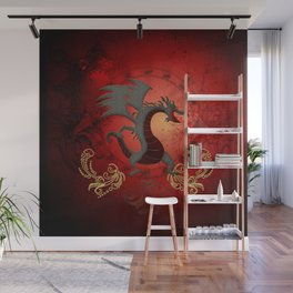 Funny dragon with floral elements Wall Mural