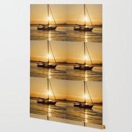 Sunset Escape Boat Wallpaper