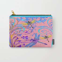 Blue- Gold Dragonflies In Purple-pink Fantasy Art Carry-All Pouch