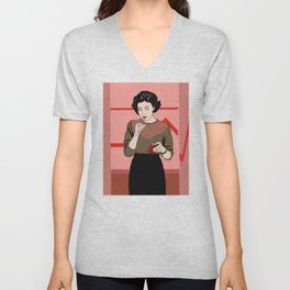Audrey Horne inspired drawing - fully coloured Unisex V-Neck
