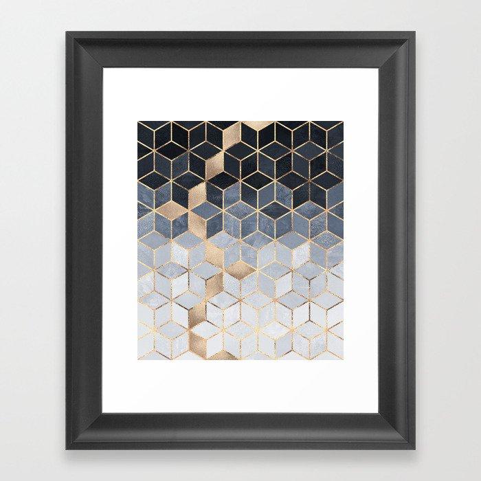 Soft Blue Gradient Cubes Gerahmter Kunstdruck