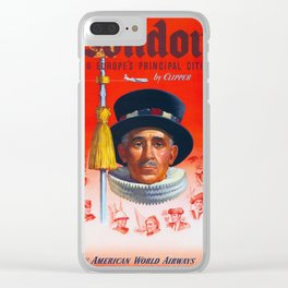 London -  Vintage Air Travel  Poster Clear iPhone Case