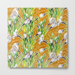 Crocuses, Spring Garden Flowers, Botanical Floral Pattern, White   Marygold  Metal Print