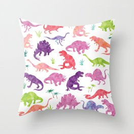 Watercolor Dinosaur Silhouette Pattern Purple Pink Green Throw Pillow
