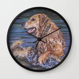 Golden Retriever dog art   from an original painting by L.A.Shepard Wall Clock