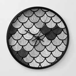 Dragon Scales with Black Outline Wall Clock