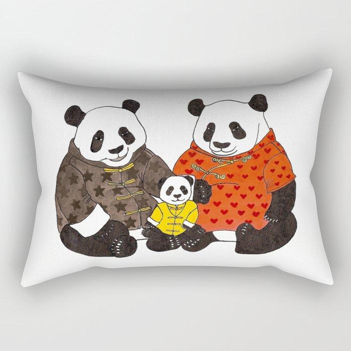 The panda family Rectangular Pillow