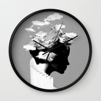 silhouette Wall Clocks featuring It's a cloudy day by Robert Farkas