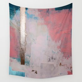 Morning Light: a minimal abstract mixed-media piece in pink gold and blue by Alyssa Hamilton Art Wall Tapestry