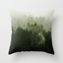 Drift - Green Mountain Forest Throw Pillow