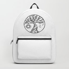 black and white tree of life with hanging sun, moon and stars I Backpack