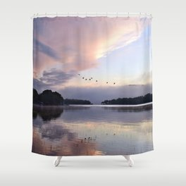Uplifting: Geese Rise at Dawn on Lake George Shower Curtain