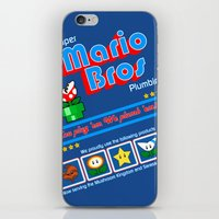 mario bros iPhone & iPod Skins featuring Super Mario Bros Plumbing by brit eddy