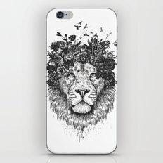 Floral lion (b&w) iPhone Skin
