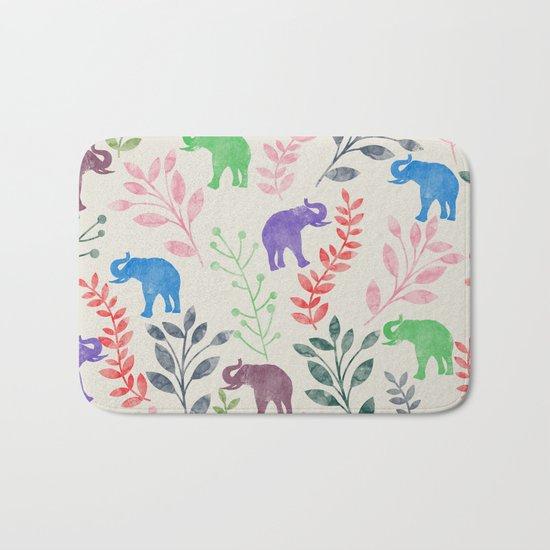 Watercolor Flowers & Elephants Bath Mat