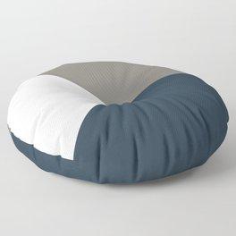 Blue Grey White Abstract Geometric Art Floor Pillow
