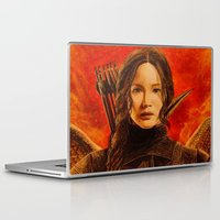 katniss Laptop & iPad Skins featuring Katniss Everdeen by Tiffany Singh